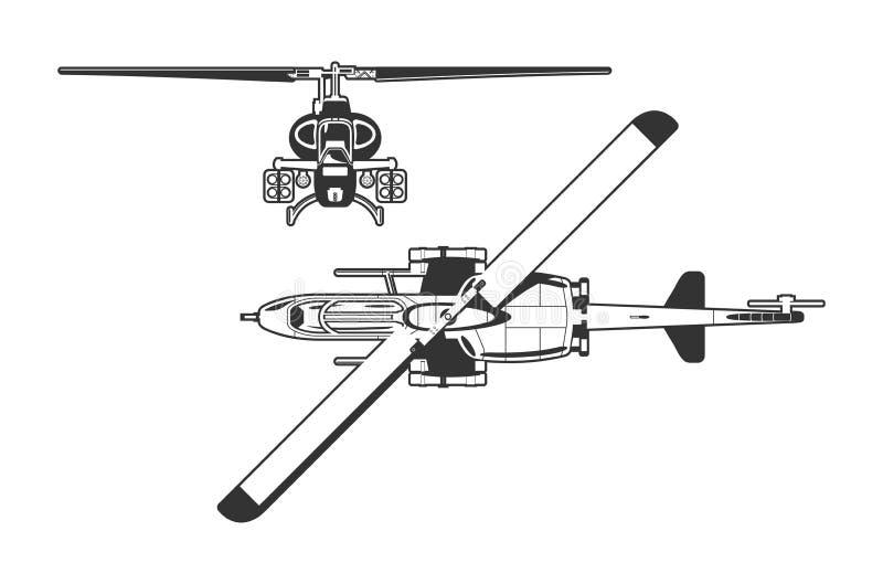 Attackhelikopter stock illustrationer