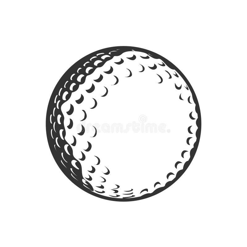 Svartvit illustration för golfboll vektor illustrationer