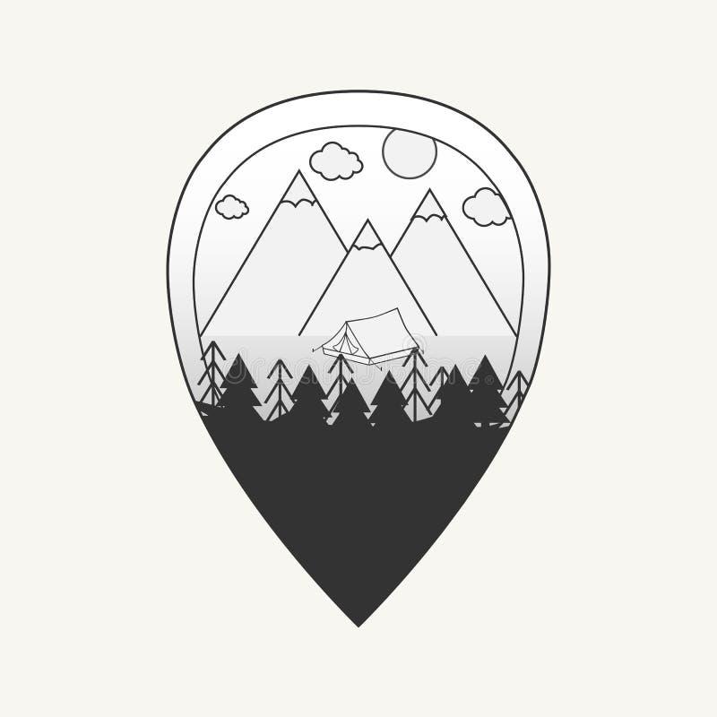 Svartvit illustration för vektor av översiktsstiftet med berg, tältet och skogen vektor illustrationer