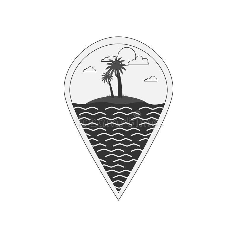 Svartvit illustration för vektor av översiktsstiftet med havet, liten ö och att gömma i handflatan Logo av begreppet för utomhus- royaltyfri illustrationer