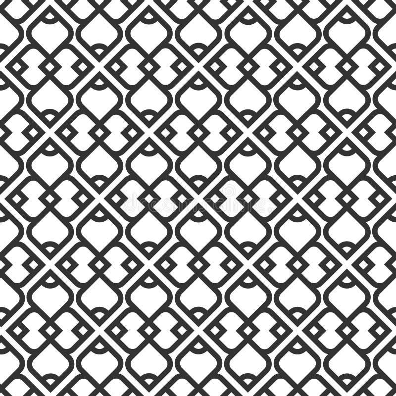 Svartvit islamisk seamless modell royaltyfri illustrationer