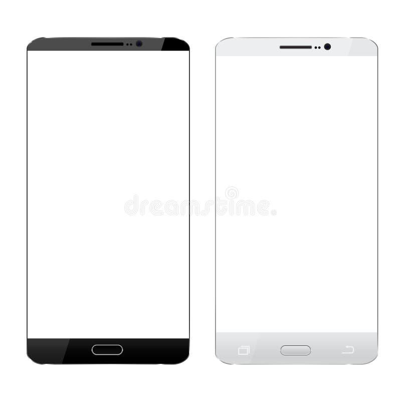 Svartvit isolerad vit för smartphone realistisk design stock illustrationer