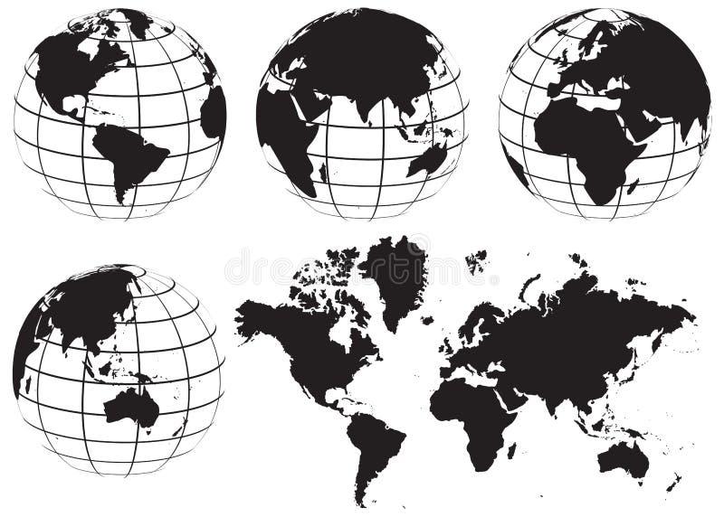 Svartvit jordklotvärldskartauppsättning - vektor illustrationer