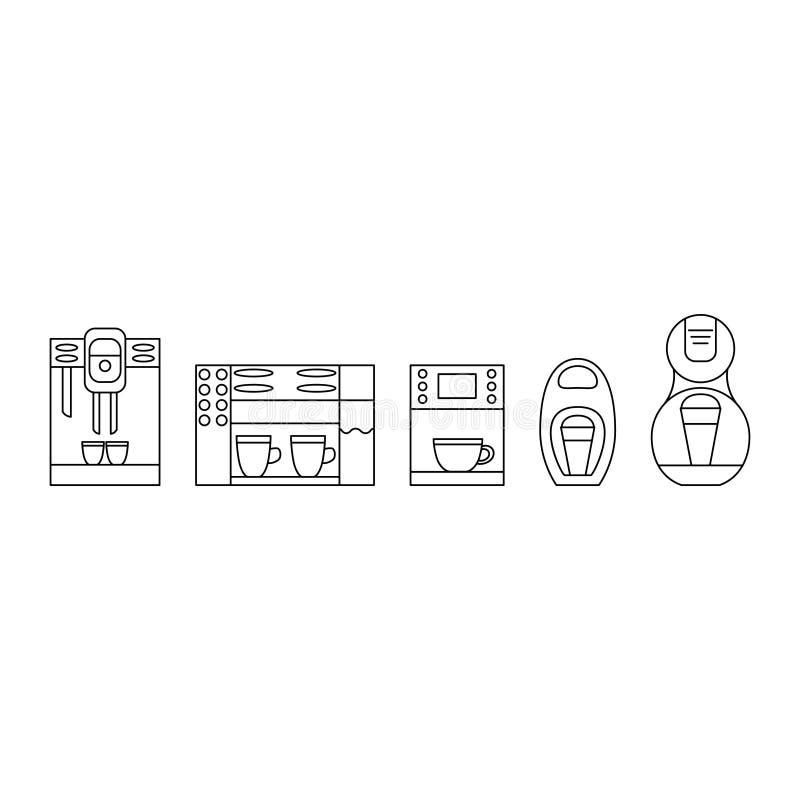 Svartvit kaffebryggarelinje symbolsuppsättning Kaffemaskinlogo stock illustrationer