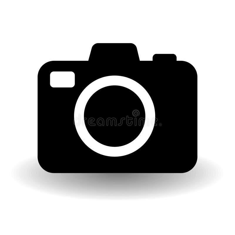 Svartvit kamerasymbol, plan fotokameravektor som isoleras med vektorskugga Modernt enkelt kortfotografi stock illustrationer