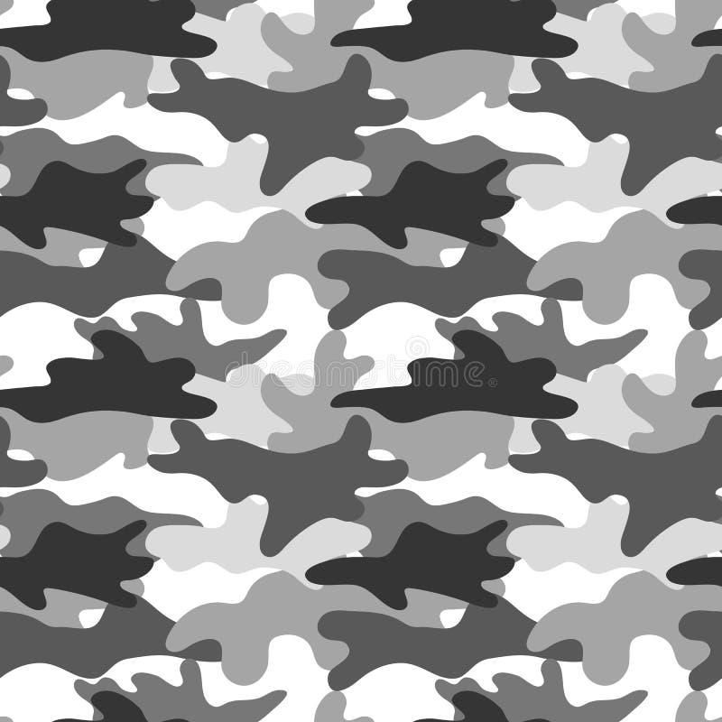 Svartvit kamouflage Maskera camo Klassiskt klädtryck seamless vektor för modell vektor illustrationer