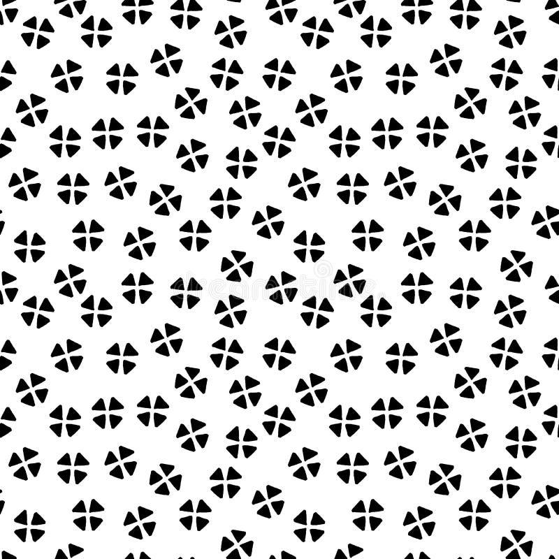 Svartvit kaotisk blom- etnisk geometrisk sömlös modell, vektor royaltyfri illustrationer