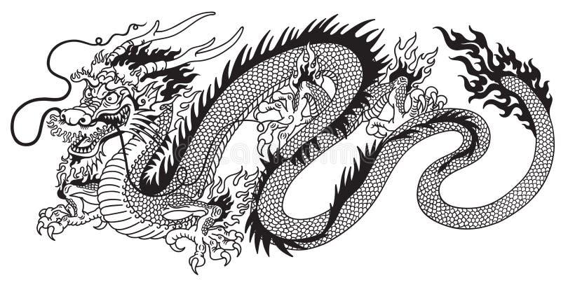 Svartvit kinesisk drake stock illustrationer
