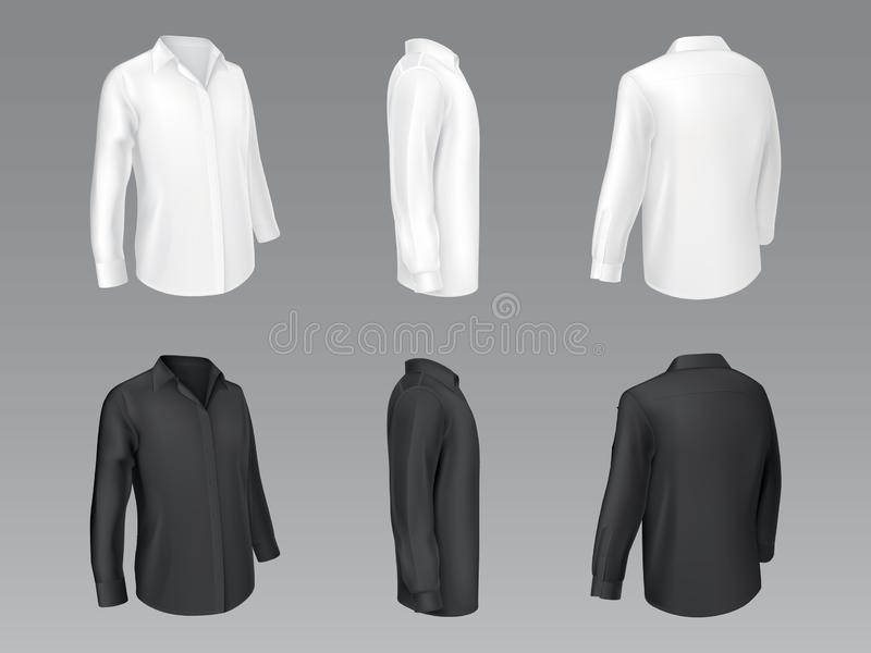 Svartvit klassisk skjortavektormodell vektor illustrationer