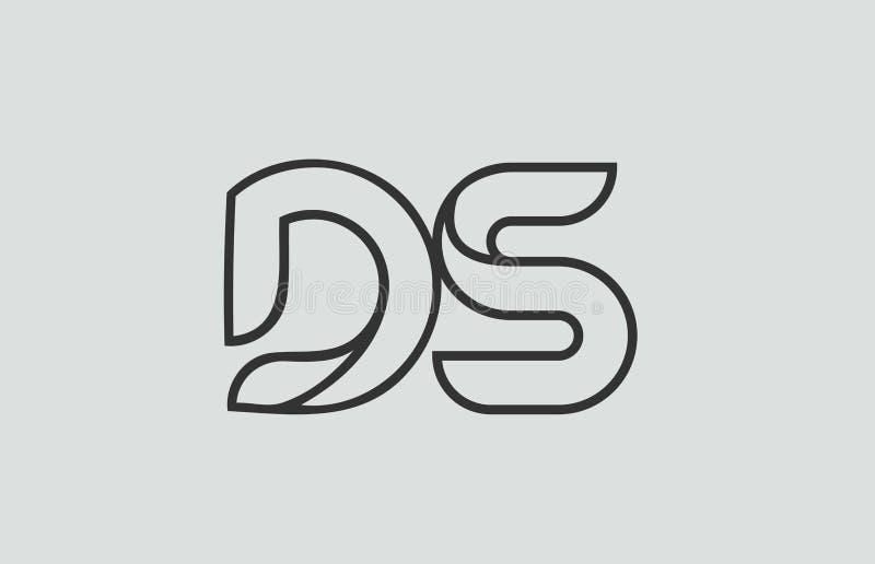 svartvit kombination för logo för alfabetbokstavsds D s stock illustrationer