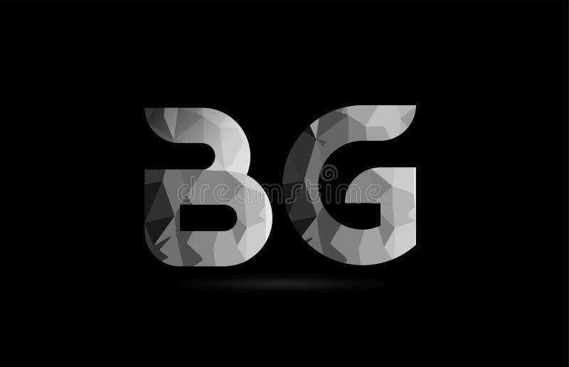 svartvit kombination för logo för G för alfabetbokstavsbg b royaltyfri illustrationer