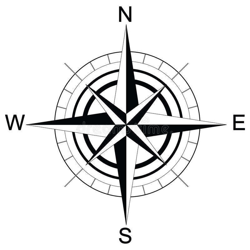 svartvit kompass raster stock illustrationer illustration av versikt 42032846. Black Bedroom Furniture Sets. Home Design Ideas