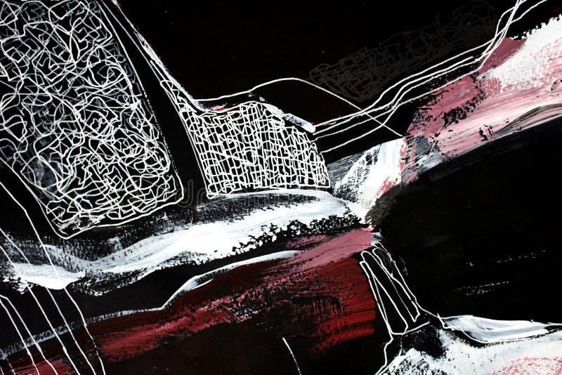 svartvit konst abstrakt konstbakgrund Akrylm?lning p? kanfas F?rgtextur Fragment av konstverk penseldrag royaltyfri fotografi