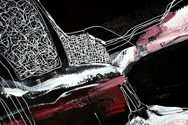 svartvit konst abstrakt konstbakgrund Akrylm?lning p? kanfas F?rgtextur Fragment av konstverk penseldrag stock illustrationer