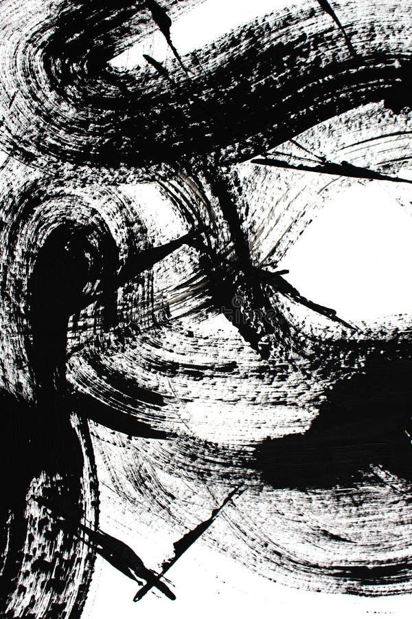 svartvit konst abstrakt konstbakgrund Akrylm?lning p? kanfas F?rgtextur Fragment av konstverk penseldrag royaltyfri illustrationer