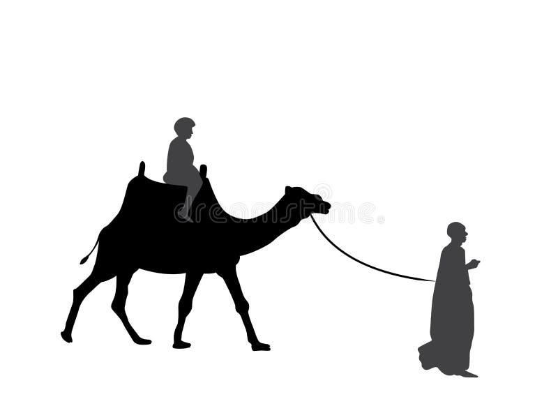 Svartvit kontur av en kamel med en beduin också vektor för coreldrawillustration royaltyfri illustrationer
