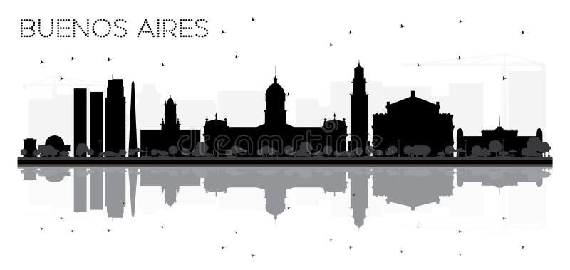 Svartvit kontur för Buenos Aires horisont med reflexioner royaltyfri illustrationer