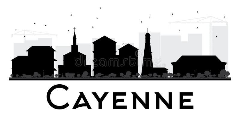 Svartvit kontur för Cayenne stadshorisont vektor illustrationer