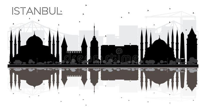 Svartvit kontur för Istanbul stadshorisont med reflexion stock illustrationer