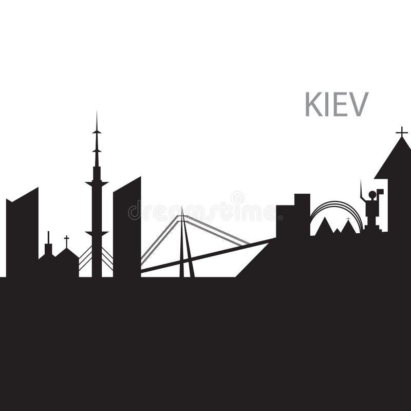 Svartvit kontur för Kiev stadshorisont royaltyfri illustrationer