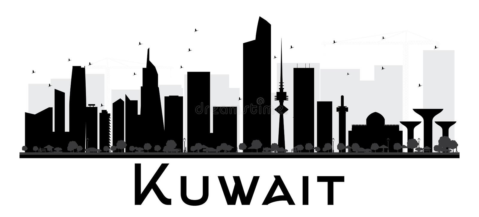 Svartvit kontur för Kuwait City horisont royaltyfri illustrationer