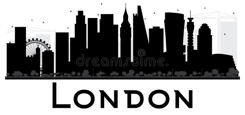 Svartvit kontur för London stadshorisont vektor illustrationer