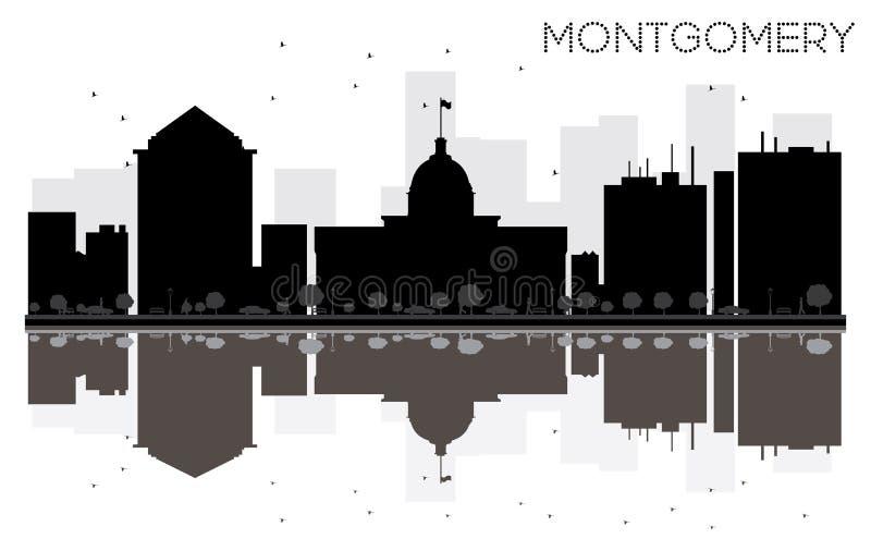Svartvit kontur för Montgomery City horisont med reflecti stock illustrationer