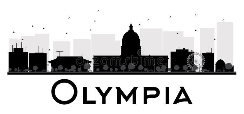 Svartvit kontur för Olympia City horisont stock illustrationer