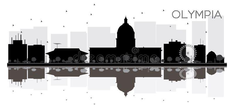 Svartvit kontur för Olympia City horisont vektor illustrationer