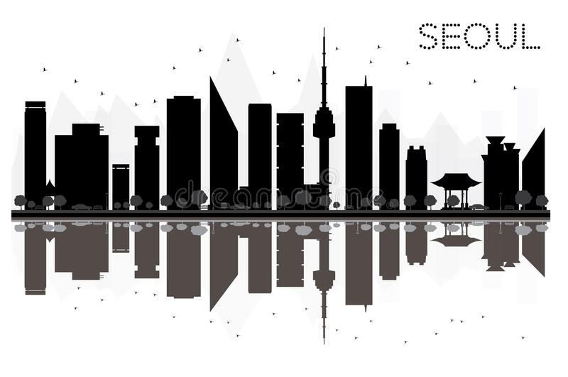 Svartvit kontur för Seoul stadshorisont med reflexioner vektor illustrationer