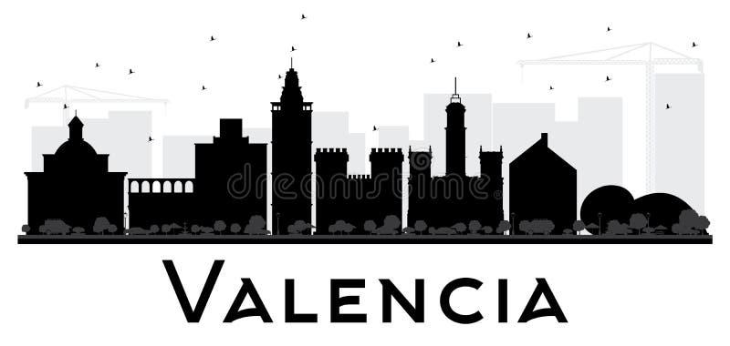 Svartvit kontur för Valencia City horisont vektor illustrationer