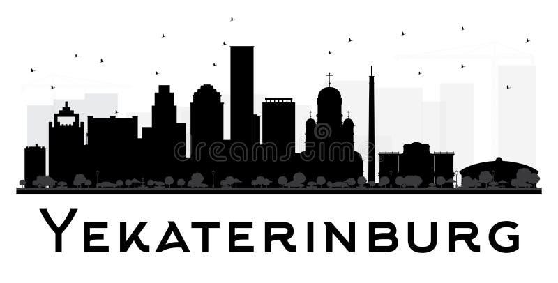 Svartvit kontur för Yekaterinburg stadshorisont royaltyfri illustrationer
