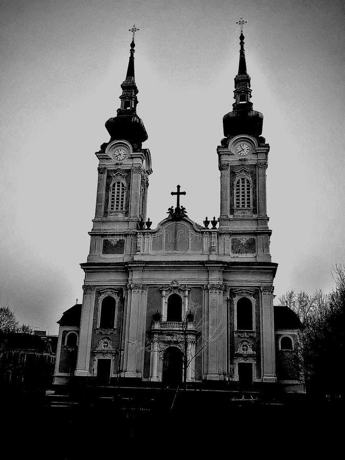 Svartvit kyrka royaltyfri fotografi