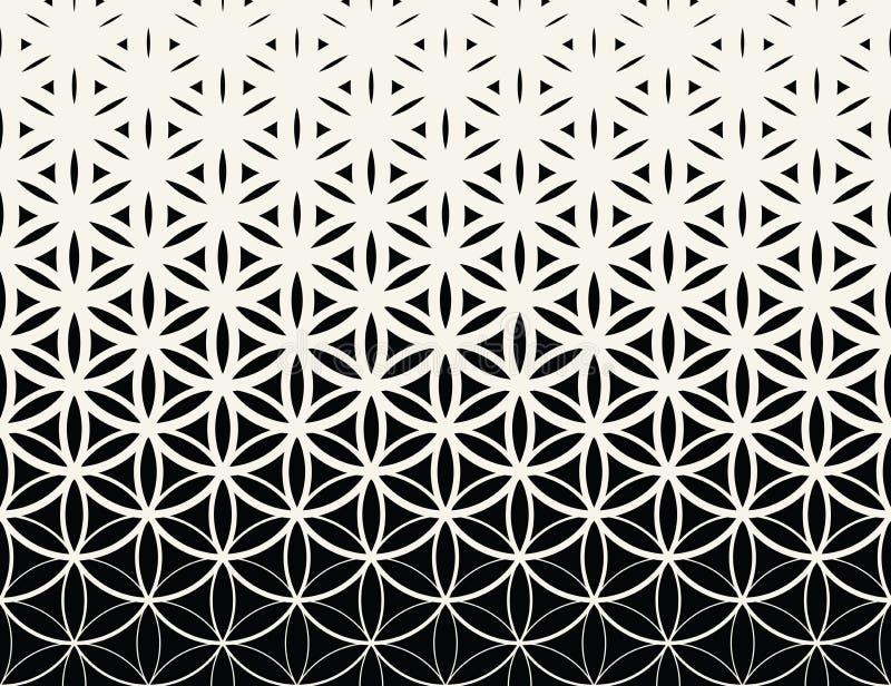 Svartvit lutningblomma för abstrakt sakral geometri av den rastrerade modellen för liv stock illustrationer