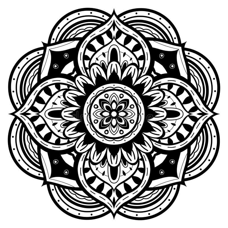 Svartvit mandala royaltyfri illustrationer