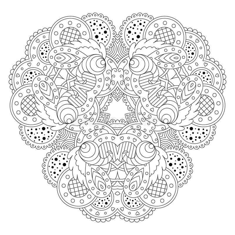 Svartvit mandala vektor illustrationer