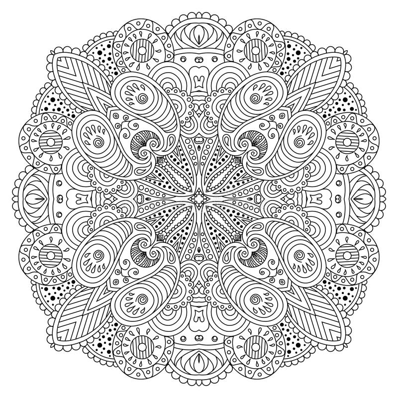 Svartvit mandala royaltyfri illustrationer