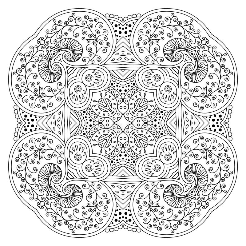 Svartvit mandala stock illustrationer