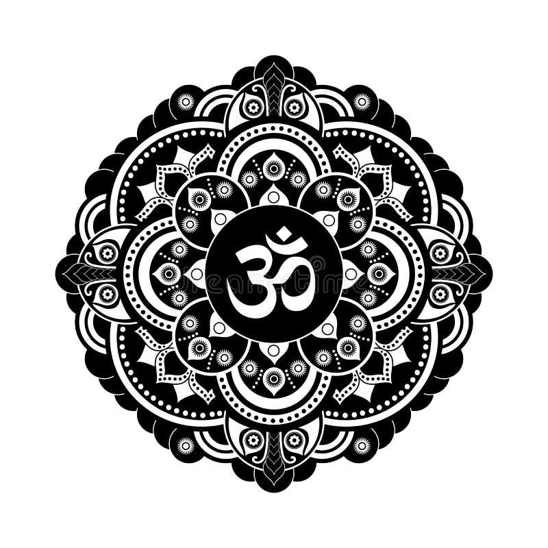 Svartvit mandala för vektorhennatatoo OM dekorativt symbol stock illustrationer