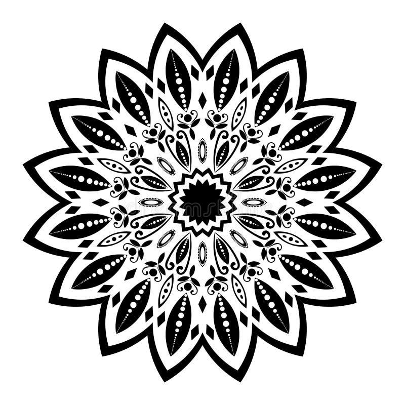 Svartvit mandalaillustration stock illustrationer