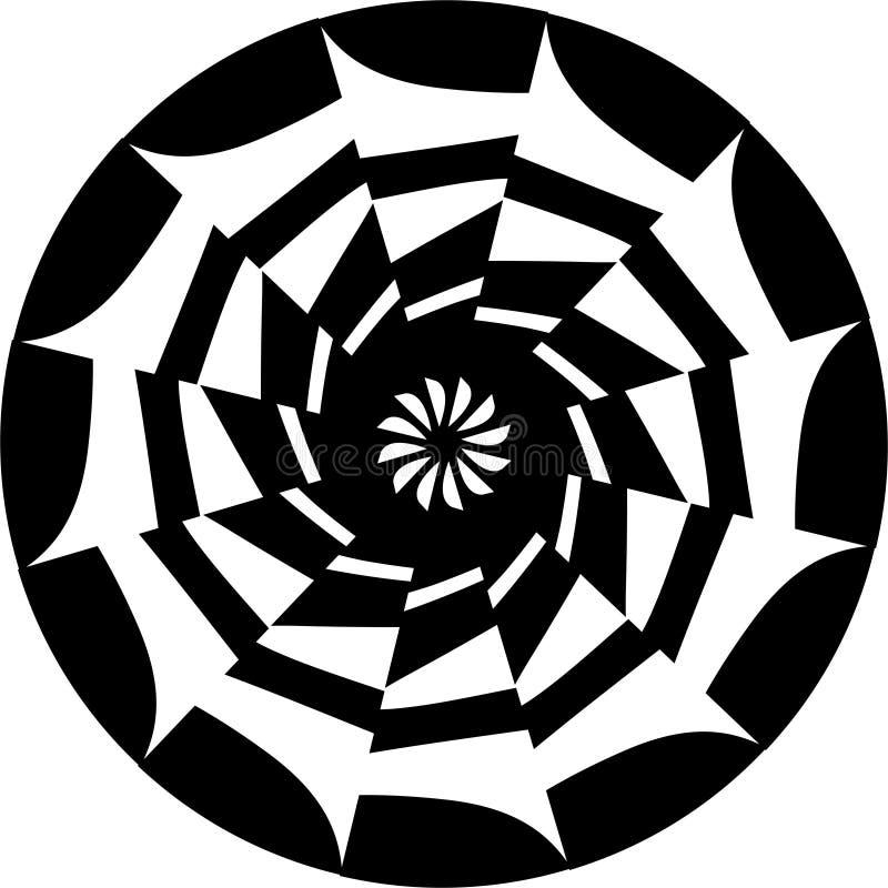 Svartvit Mandalaprydnad för abstrakt vektor, kollidera-nolla-räckvidd, geometrisk modell royaltyfri illustrationer