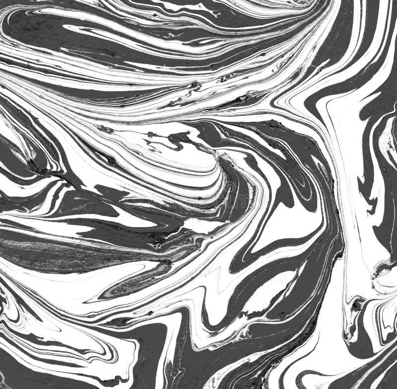 Svartvit marmorerad textur Handgjord modebakgrund Marmorbakgrund royaltyfri illustrationer