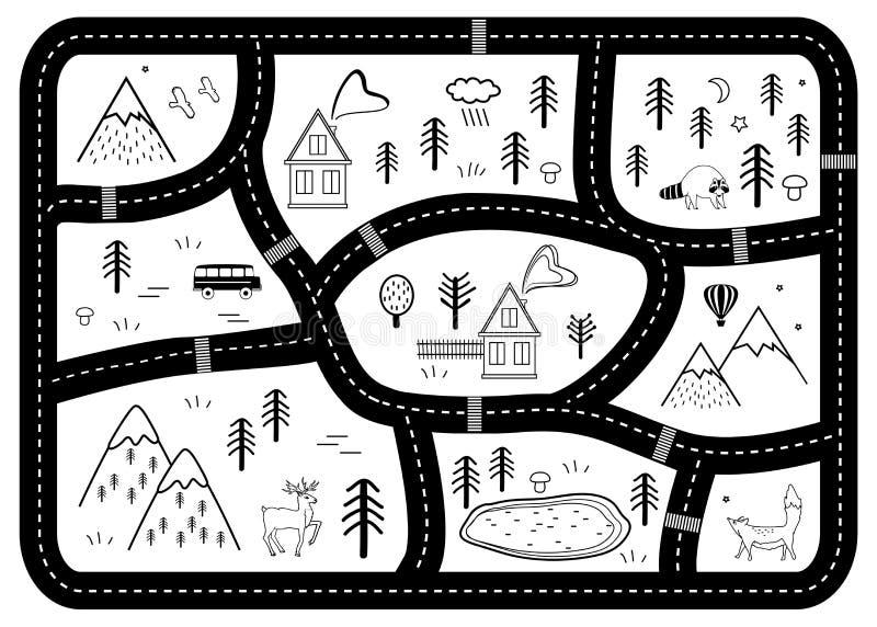 Svartvit matt ungeväglek Vektorfloden, berg och trän äventyrar översikten med hus och djur stock illustrationer