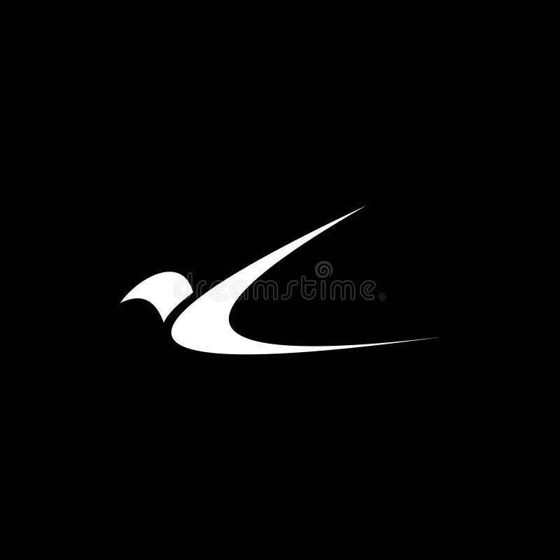 Svartvit minimalist logo för flygfågel royaltyfri illustrationer