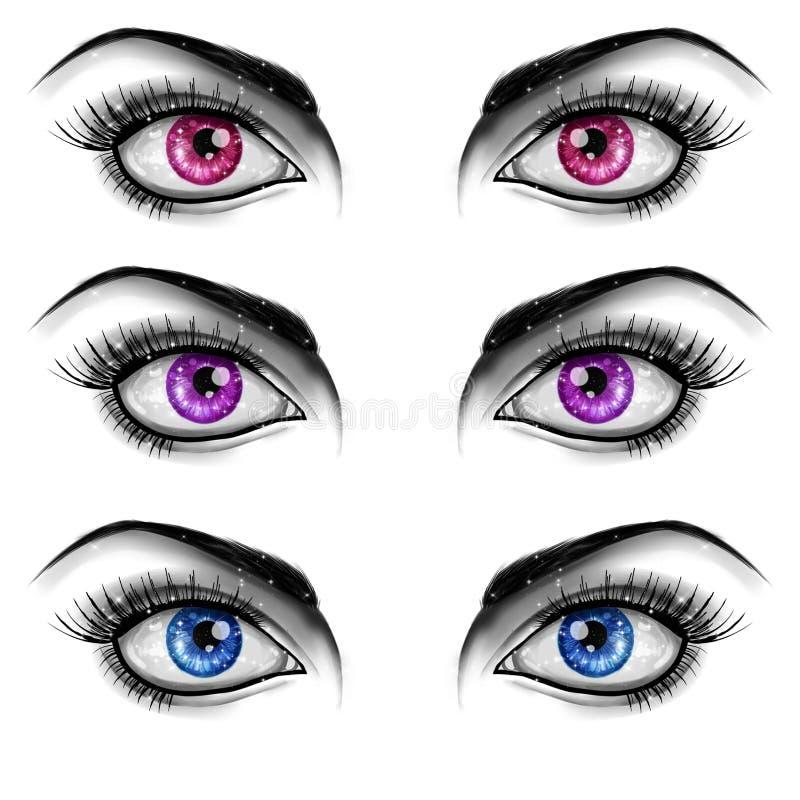 Svartvit modeillustration - ögon på vit bakgrund stock illustrationer