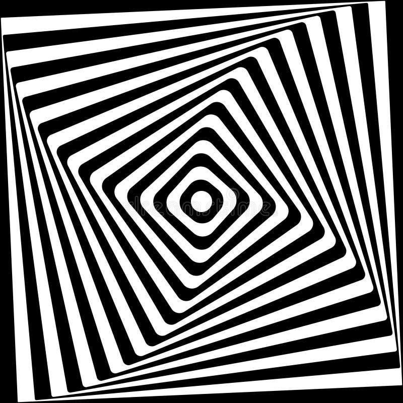 Svartvit modell för abstrakt fyrkantspiral royaltyfri illustrationer