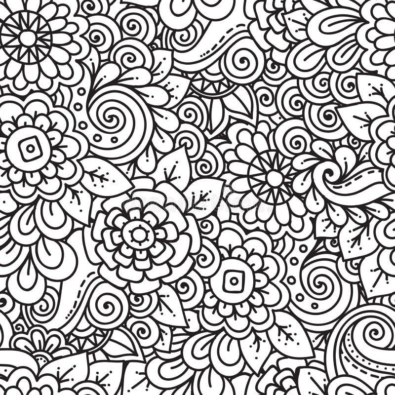 Svartvit modell för sömlöst blom- retro klotter i vektor stock illustrationer