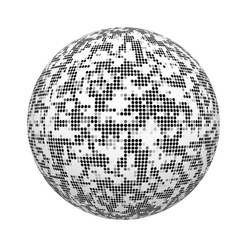 Svartvit modell för textur för sexhörningsmosaiktegelplatta på boll- eller sfärform som isoleras på vit bakgrund Övre design för  royaltyfri illustrationer