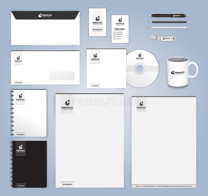 Svartvit modern designmall för företags identitet royaltyfri illustrationer