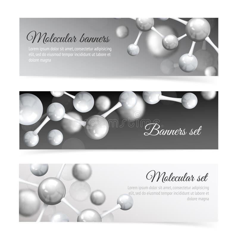 Svartvit molekylbaneruppsättning stock illustrationer